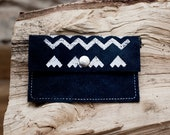 Card Holder Tribal Pattern Leather Suede Navy Blue with White No. CH-101