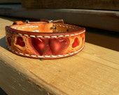 Tooled hearts onto leather extra small dog collar @acrossleather.com new castle DE