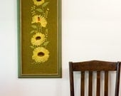 Large Vintage Crewel Embroidery Wall Art in Frame