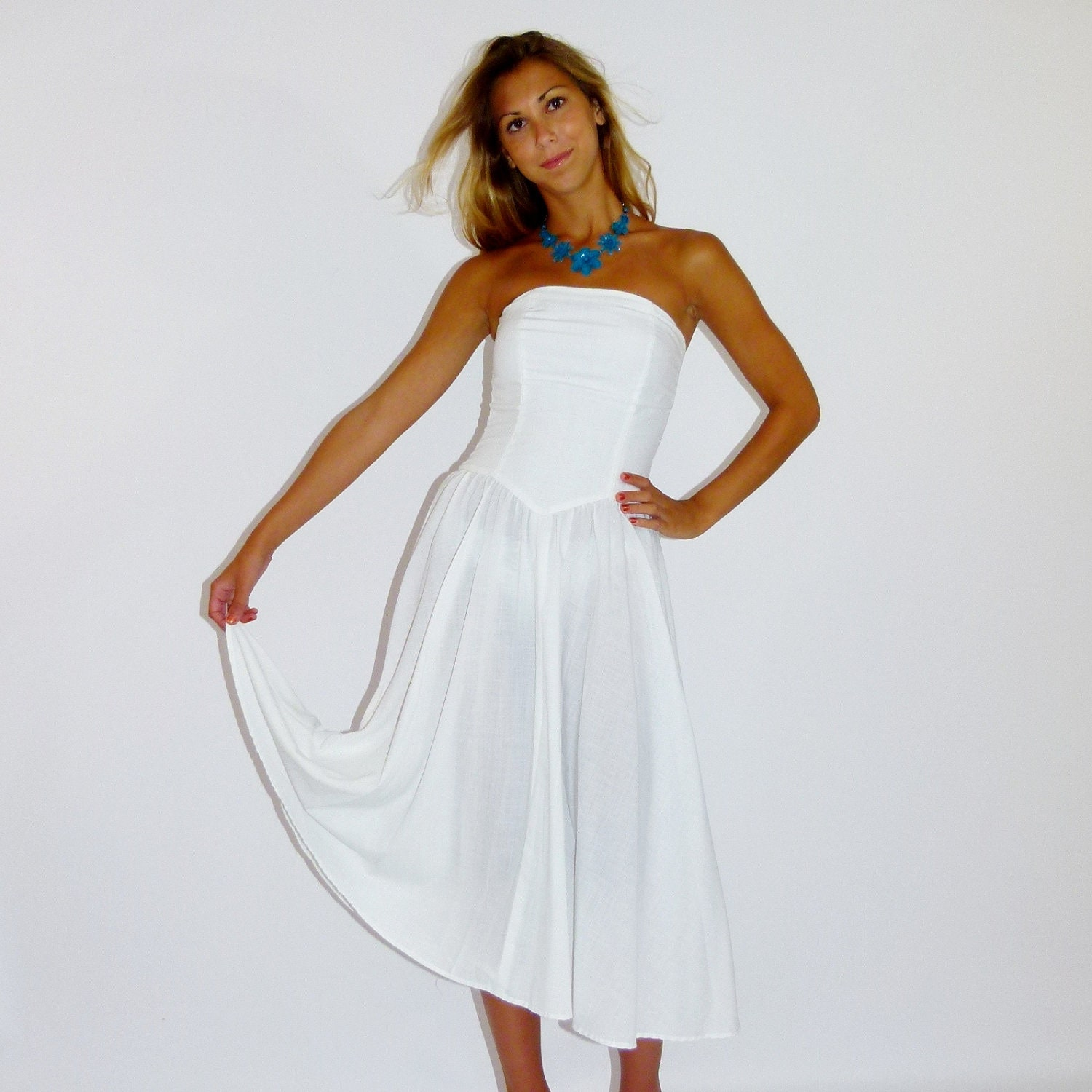Casual White Cotton Wedding Slip Dresses 66