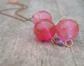 Pink Glass Necklace Chunky Womens Copper Oversize Bead Wire Work Ladies Jewellery