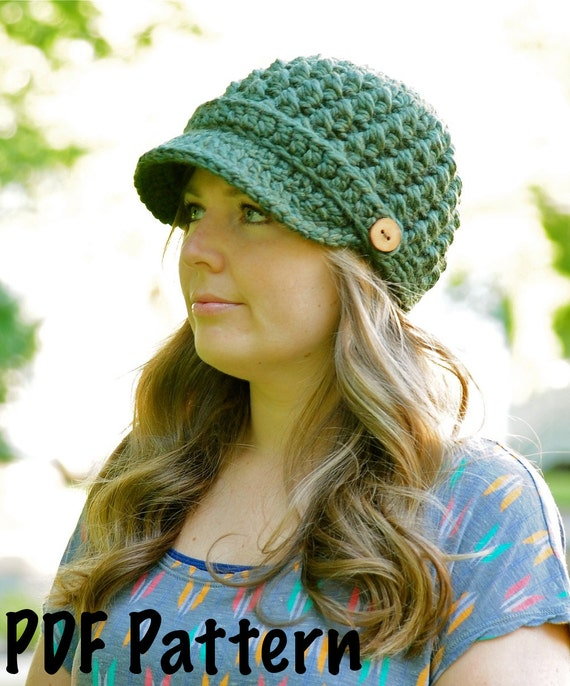 Womens Cross Stitch Hat Pattern, Crochet Hat Pattern, Womens Hat Pattern, Newsboy Hat Pattern
