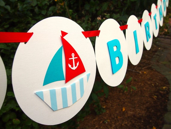 "Nautical Sailor Themed ""HAPPY BIRTHDAY"" Banner: Perfect Banner for Boys' Birthday Parties"