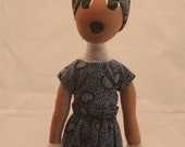 Female Warrior - Dark blue with white beading