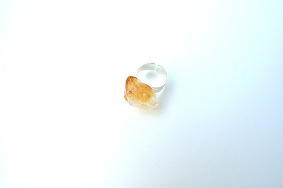 Raw Citrine Crystal Ring