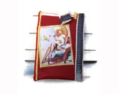 Pinup Girl iPhone 4 Case iPhone 5 Case Cell Phone Case Synthetic Red leather With Canvas Borders