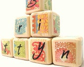 Wooden Blocks.  Colorful Baby Shower Decoration. trendy and unique birthday gift. Cute Girl nursery decor. Rainbow. Retro - MiaBooo
