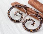 Tiger Eye Earrings, brown earrings, Oxidized Copper Wire Wrap Spiral Hoop Earrings, Tiny Dark Caramel Brown Beads, wirework, artisan jewelry - CookOnStrike