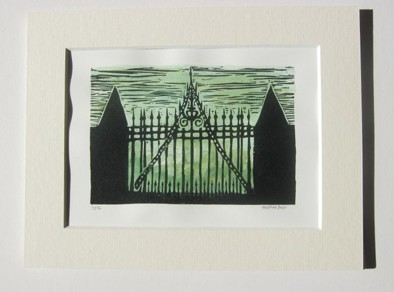 linocut print- the gate to Hill House- matted lino print - nothingtralala