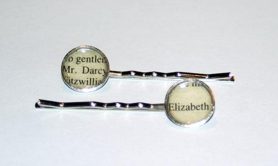 Literary Hair Pins - Pride and Prejudice, Mr Darcy and Elizabeth