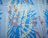 Fabric by Yard Powder Blue Cotton Hand Printed, silk screened in blue ink spills, metallic bronze boars skulls, and yellow bell flowers