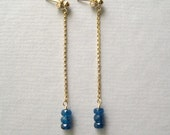 Apatite Earrings, Faceted Gemstone Earrings, Long Dangle Chain Earrings, Teal Blue Earrings, Under 50 - juliegarland
