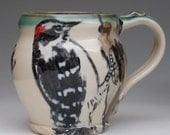 Mug with hand painted  woodpecker bird - MorrisPottery