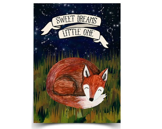 Sweet Dreams Fox - 8.5 x 11 Poster