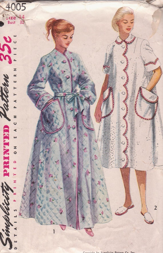 Vintage 1950s Misses Robe in Two Lengths, Mother and Daughter Fashion Size 14 Simplicity 4005 Sewing Pattern 50s