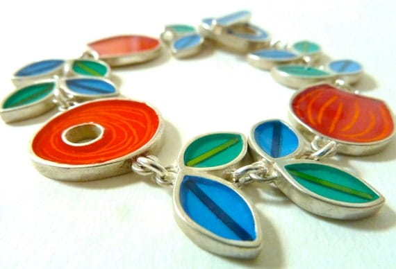 Dutch silver bracelet with resin inlay