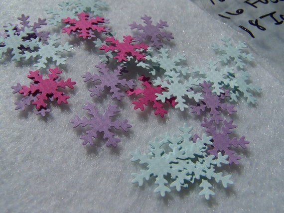 Die Cuts, Hand Punched, Mini Snowflakes, Fuchsia, Lilac, Icy Blue Card Stock, Confetti, Paper Embellishment