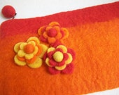 Orange Felted Clutch Envelope Purse Ruby Red Stripe Felt Floral Embellishment - sammysgrammy