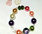Glass Pearl and Crystal Rainbow Mix Bracelet by 2CarasCreations