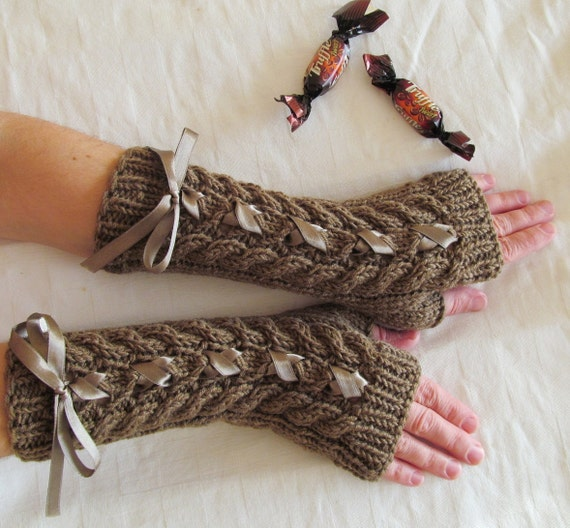Brown Long Hand Knitted Arm Warmers Fingerless Gloves, Wool Mittens with Satin Ribbon