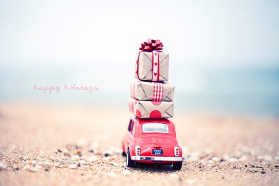 "CHRISTMAS CARD Happy Holidays Original 6"" x 4"" Photo Mounted on Heavy Weight Card Stock. Fiat 500, Retro, Red, Kraft, Gifts, Beach"