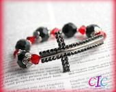 Black and Red Sideways Cross Faith Bracelet