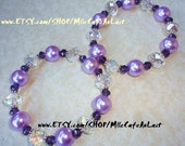 CLEARANCE Bangle Bracelet Duo, Drop Dangle Earring Set Lavender Pearls Czech Swarovski Crystal- VINEYARD PEARLS
