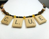 Clue necklace vintage Scrabble tile & mother of pearl