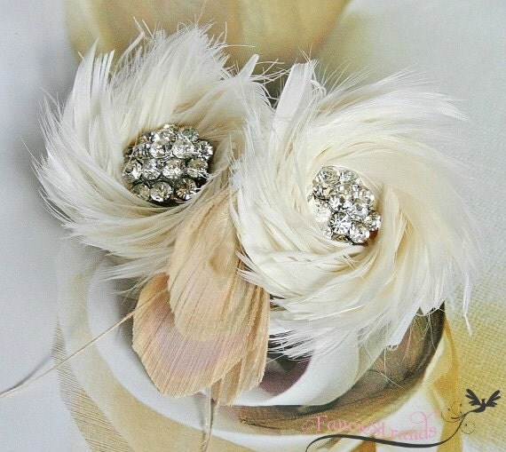 Wedding Hair Accessories, Ivory Wedding Headpiece, Ivory Bridal Fascinator, Bridal, Hair Accessory