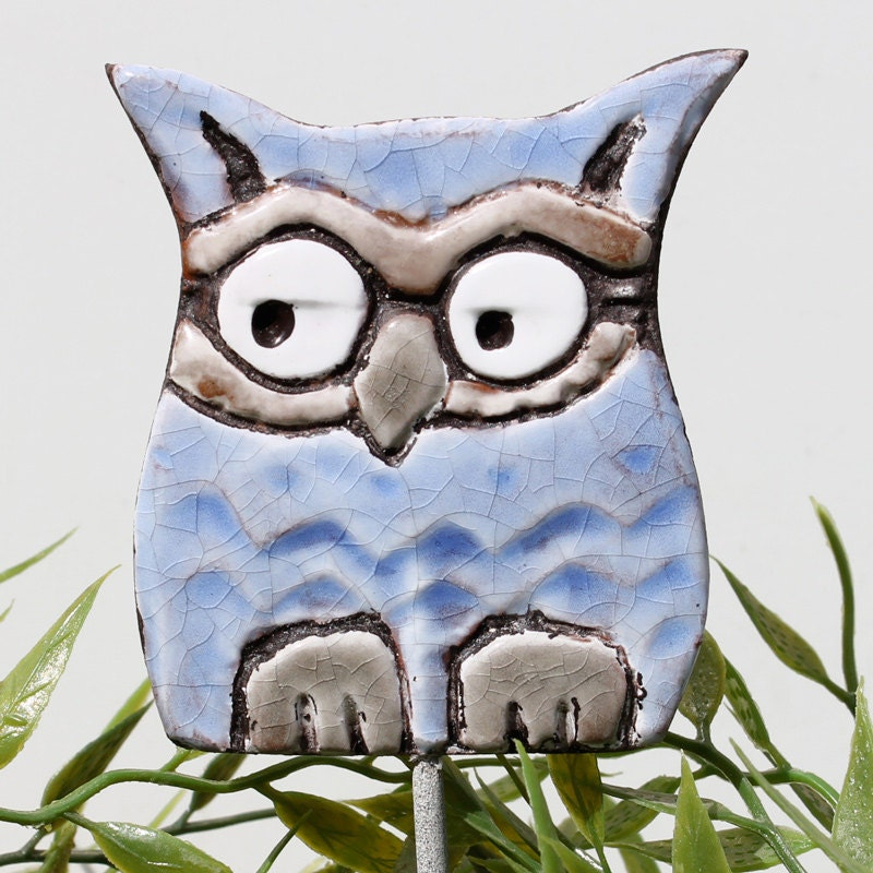Owl garden art plant stake garden decor owl ornament by gvega for Baby owl decoration