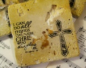 Coasters Religious Philippians 4:13 Travertine Cross Coasters in Gold and Black