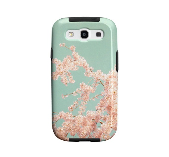 Samsung Galaxy S3 case, Galaxy S4 case, pink flowers, blue sky, cherry blossoms, pretty case, samsung galaxy siii cover, gift, under 50