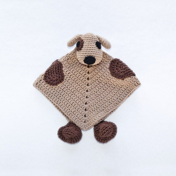Instant Download - PDF Crochet Pattern - Puppy Dog Security Blanket - Text instructions and SYMBOL CHART instructions