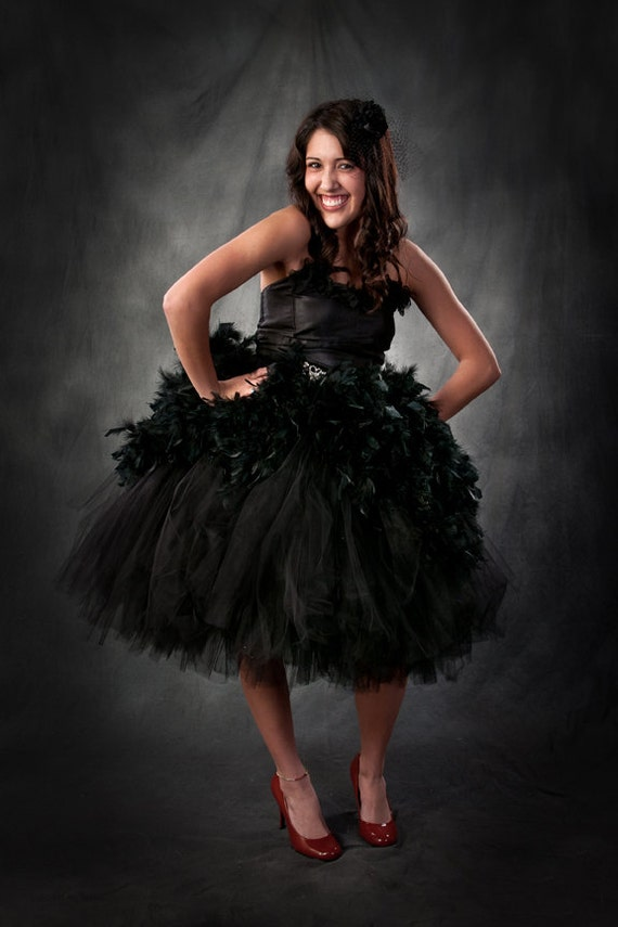 Adult tutu dress, Couture feather dress, Ebony Allure adult formal tutu dress in color black swan