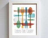 Mid Century Kitchen Art Print Colorful Cooking Utensils Julia Child Chef - DexMex