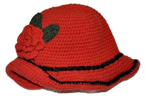 Ladies' hat with crochet flower, Women Winter Crochet Hat, Women Beanie, red , Hat with flower, Red - Black Chunky beret