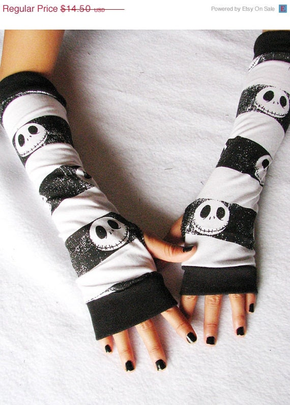 End of Year Sale Fingerless Gloves: Skulls, Jack Skellington, Arm Warmers,  Nightmare Before Christmas, Teen, Tween, Tim Burton