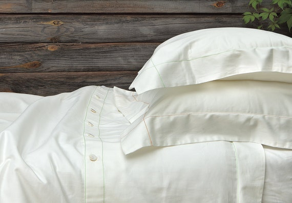 100% organic cotton sateen duvet cover with colored stitching