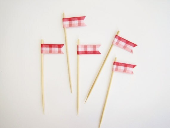 Ribbon Cupcake Cake Topper Flags, Set of 12, Wedding, Shower, Birthday, Party Decor -rustic country red and pink gingham
