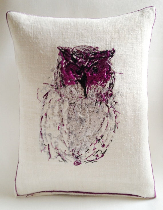 Vintage Linen, Scatty Kitty or Tatty Owl, Embroidery Art Throw Cushion