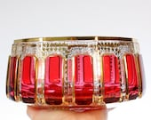 Vintage Moroccan / Middle Eastern Cut Crystal Bowl with Red Stain and Gold Leaf Accents