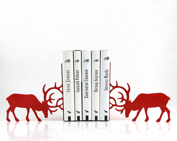 Bookends - Butting Deer - laser cut for precision these metal bookends will hold your favorite books