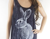 Rabbit Bunny (Size M) Animal Style Unisex T-Shirt Rabbit Tank Top Bleach Black Tunic Screen Print Size M - sinclothing