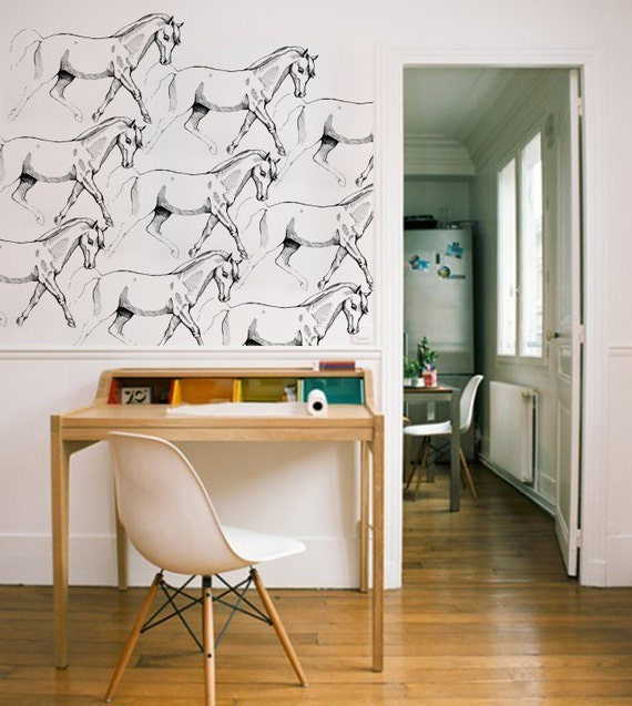 Editors picks wall decals stencils and wallpaper etsy journal girl horse wallpaper sciox Choice Image