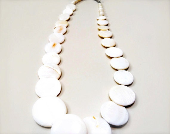 Cream Boho Bright Wedding Winter Optic Whites Necklace