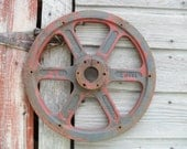 Chippy Red and Rusty Iron Industrial Wheel - SparkleUpcycledGoods