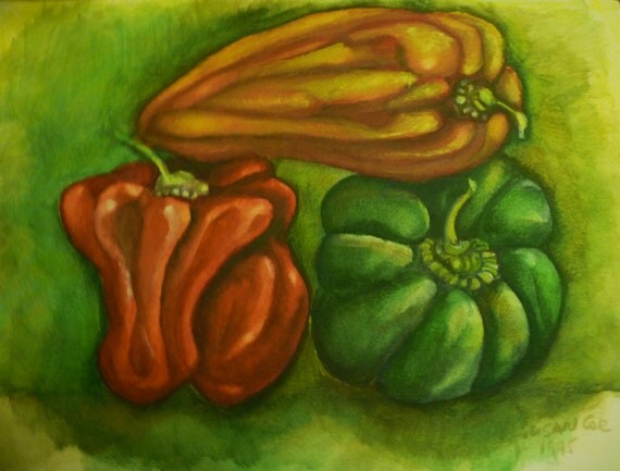 ORIGINAL Watercolor Painting, Three Bell Peppers, Kitchen Art, Vegetable Art, Original Watercolor Painting