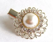 One Rhinestone and White Pearl Hair Clip, Bridal Accessories, Hair Accessories, Vintage Inspired - merryalchemybridal