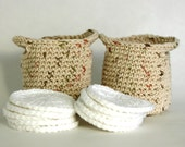 Earth Tone Crochet Basket with Facial Scrubbies Makeup Remover Pads Wash Cloths Face Cloth - GetTangled