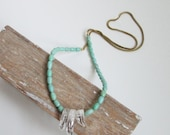 Quartz Spike and Minty Howlite Necklace. Long Beaded Neacklace. Simple. Minimal. Mint. Turquoise. - MissCAlexandria